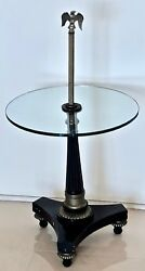 Antique 19th C Black 3-footed Pedestal Table Base - Very Fine Brass Elements