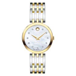 Movado Womenand039s Esperanza 28mm Yellow-gold Mother-of-pearl Diamond Watch 0607305