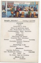 1925 Postcard With Menu Front From North German Lloyd Steamship Columbus