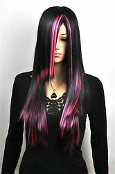 Hot Sell Fashion Long Black Mix Pink Straight Hair Women#x27;s Lady#x27;s Hair Wig Wigs