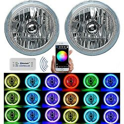 7 Bluetooth Cell Phone Rgb Smd Multi Color Led Halo Headlight For Jeep Wrangler