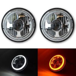 7 Led White Amber Halo Ring Angel Eyes Projector Headlight Headlamp Pr For Jeep