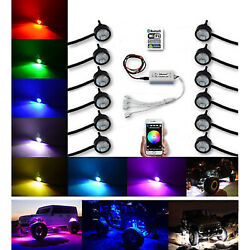 Multi-color Changing Led Rgb Smd Rock Light Bluetooth Set Of 12 For Jeep Truck