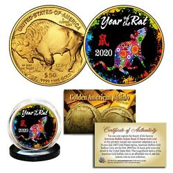 2020 Chinese Year Of The Rat 24k Gold American Buffalo Tribute Coin Polychrome