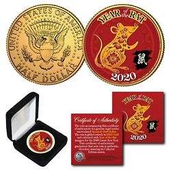 2020 Chinese New Year Of The Rat 24k Gold Plated Jfk Half Dollar Coin With Box