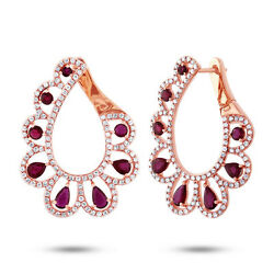 Unique 3.68 Tcw 14k Rose Gold Natural Pear Ruby Round Diamond Teardrop Earrings