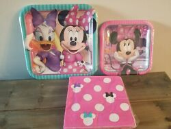 Disney Minnie Mouse Happy Birthday Party Paper Plates And Napkins Lot