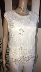 Claire Kennedy Connemara Collection Cream Knitted Embellished Vest Top Uk10-12