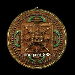 Tibet copper 24K gold turquoise coral Mahakala Mandala niche for Buddha shrine