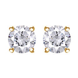 1.00 Cttw Round Cut Diamond Solitaire Earrings 14k Yellow Gold