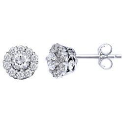 1 Cttw Round Cut Diamond Cluster Stud Earrings 18k White Gold Christmas Special