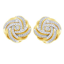 1/2 Ct Diamond Love Knot Earrings 14k Yellow Gold Over 925 Sterling Silver