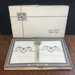 Vintage Fine Embroidered Pillow Case Set Of 2 Pillowcases Original Package Nos