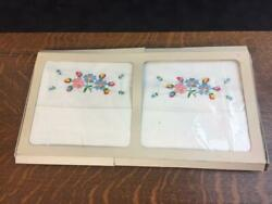 Vintage Floral Embroidered Pillow Case Set Of 2 Pillowcases Original Package Nos