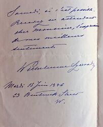 Wilhelmine Clauss- Szarvady 1832 -1907 French Pianist,genuine Signed Letter Fr