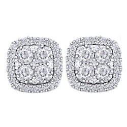 Round Diamond Halo Stud Earrings 1/2cttw In 14k White Gold Christmas Special
