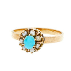 Antique Victorian Ring 1880 Persian Turquoise Natural Pearl Rose Gold