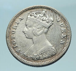 1892 Hong Kong British Colony Queen Victoria Genuine Silver 10 Cent Coin I78592