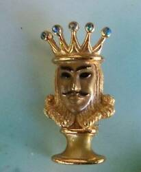 High End ESTATE Crown Trifari Jewel Crown KING Brooch Signed