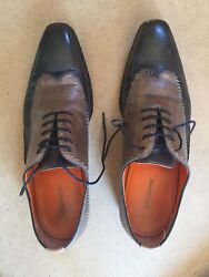 Magnanni Two-tone Black And Brown Wingtip Shoes Size 9.5-made In Spain-paramo