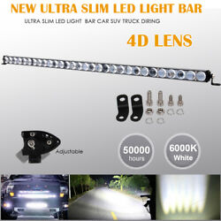 42 Inch 4d Lens Single Row Led Work Light Bar Driving Offroad Car Truck Boat 44