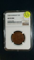 1930 Norway Five Ore Ngc Au55 Bn 5o Coin Buy It Now