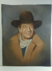 John And039the Dukeand039 Wayne - 1988 Orig Pastel On Paper Signed Artist Delores Levine