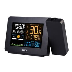 FJ3391 Weather Station with Projection Weather Monitor Calendar Desk Clock
