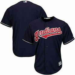 Cleveland Indians Mlb Majestic Authentic Cool Base Adult Navy Blue Jersey Nwt