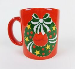 Waechtersbach Christmas Mug Cup Red With Yellow Stars Red Berries Ribbon Germany
