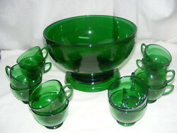 Vintage Anchor Hocking Forest Green Glass Complete Punch Bowl Set Base And 12 Cups