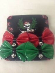 Bret Michael's Pets Rock Dog Hair Bows Red Green Bells Christmas