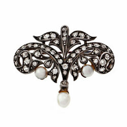 Victorian Antique 1900 Gia Natural Pearl Diamond Pin Silver 14k Old Mine Cut