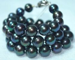 Huge 1816mm Natural Tahitian Genuine Black Perfect Round Pearl Necklace