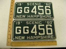 1960 60 New Hampshire Nh License Plate Pair Set Gg456 Grafton County Scenic