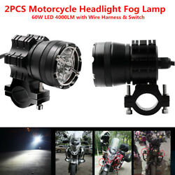 60w Led 4000lm Motorcycle Scooter Headlight Fog Spot Light+wire Harness And Switch