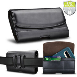 Leather Phone Belt Clip Holster Pouch Case Card Holder RFID Blocking Wallet $9.89