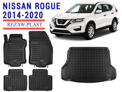 Floor Mats For Nissan Rogue 2014-2020 Suv Black All Weather Rubber Cargo Liner