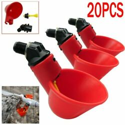 20x Chicken Poultry Water Drinker Cup Coop Bowl Automatic Pigeon Farm Feeder USA