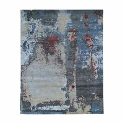 8and039x10and0391 Black Abstract Design Wool And Silk Hand Knotted Oriental Rug R47697