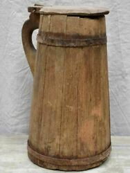 Large Rustic French Wooden Pitcher With Lid