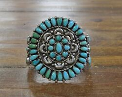 Vintage Zuni Sterling Silver And Turquoise Petit Point Cluster Cuff Bracelet
