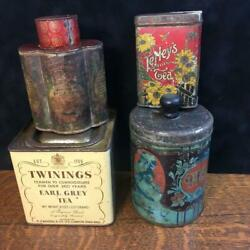 Lot Of 4 Antique Vintage Tea Tins Tetleys Twinings Tack Kee And Co. Maxwell House
