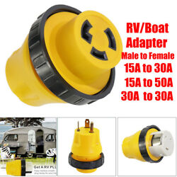 15a Male To 30a 50amp Female Plug 125v Shore Power Rv Boat Marine Adapter Socket