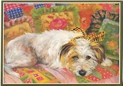 CUTE YORKSHIRE TERRIER DOG FLOWERS FLORAL DECOR PILLOWS NAPPING NOTE ART CARD