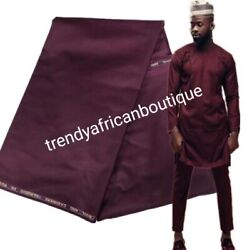 Maroon Cashmere + Wool Blend For Nigerian Men 2pc Outfit. Sold 5 Yards. So Soft