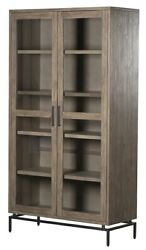 79 T Frediano Cabinet Modern Iron Base Solid Pine Wood Cabinetry Glass Doors