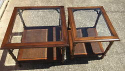 Set Of 2 Lane Faux Bamboo Walnut Glass Top Caned Side Or End Tables