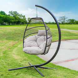 Outdoor Large Lounge Chair Patio Hanging Egg Seat Swing Cushion Headrest Beige
