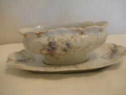 Wm. Guerin Limoges France Gravy Boat And Underplate Gue 303 Pattern